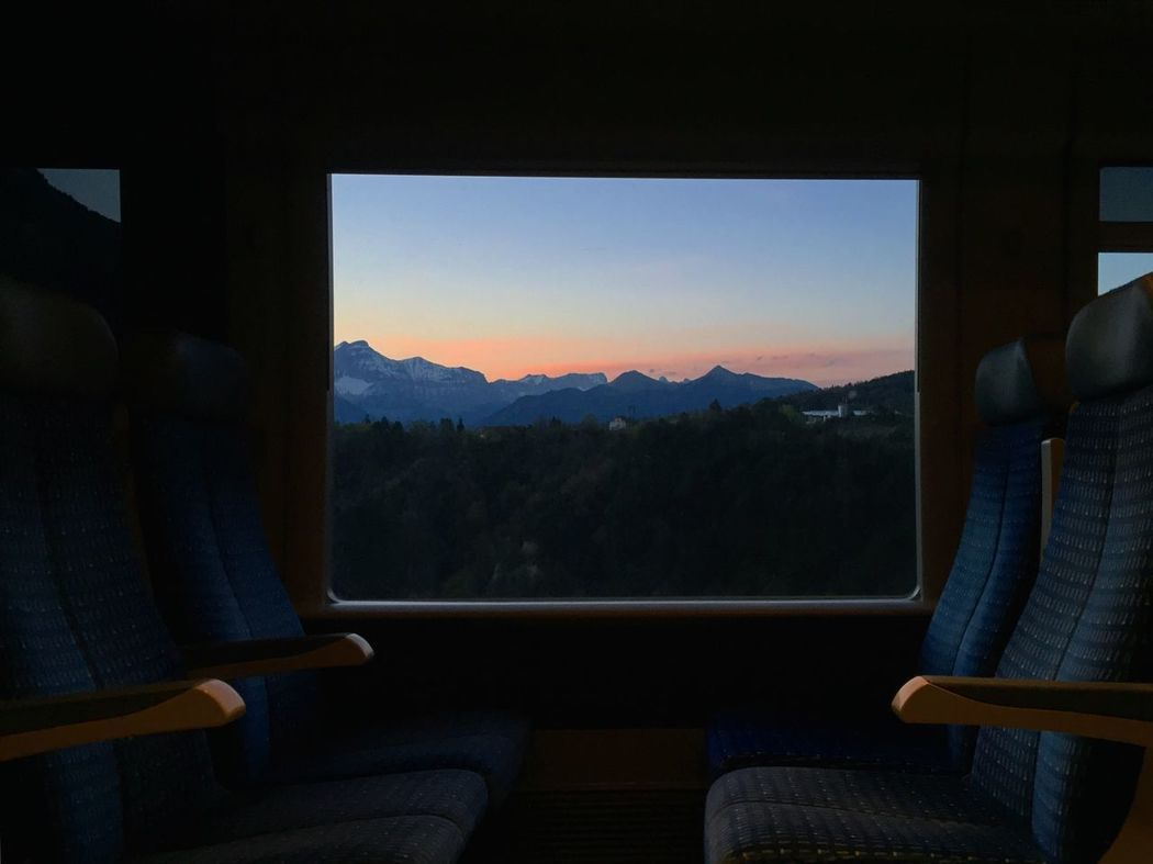 Sunset Sun Sky And Clouds Outdoors Sunshine Mountain Mountain View TGV Train Travel Cute Window Mountain Range Landscape Nature Sky No People Indoors  Day Scenics Beauty In Nature Tree Beautiful Blue Tranquility