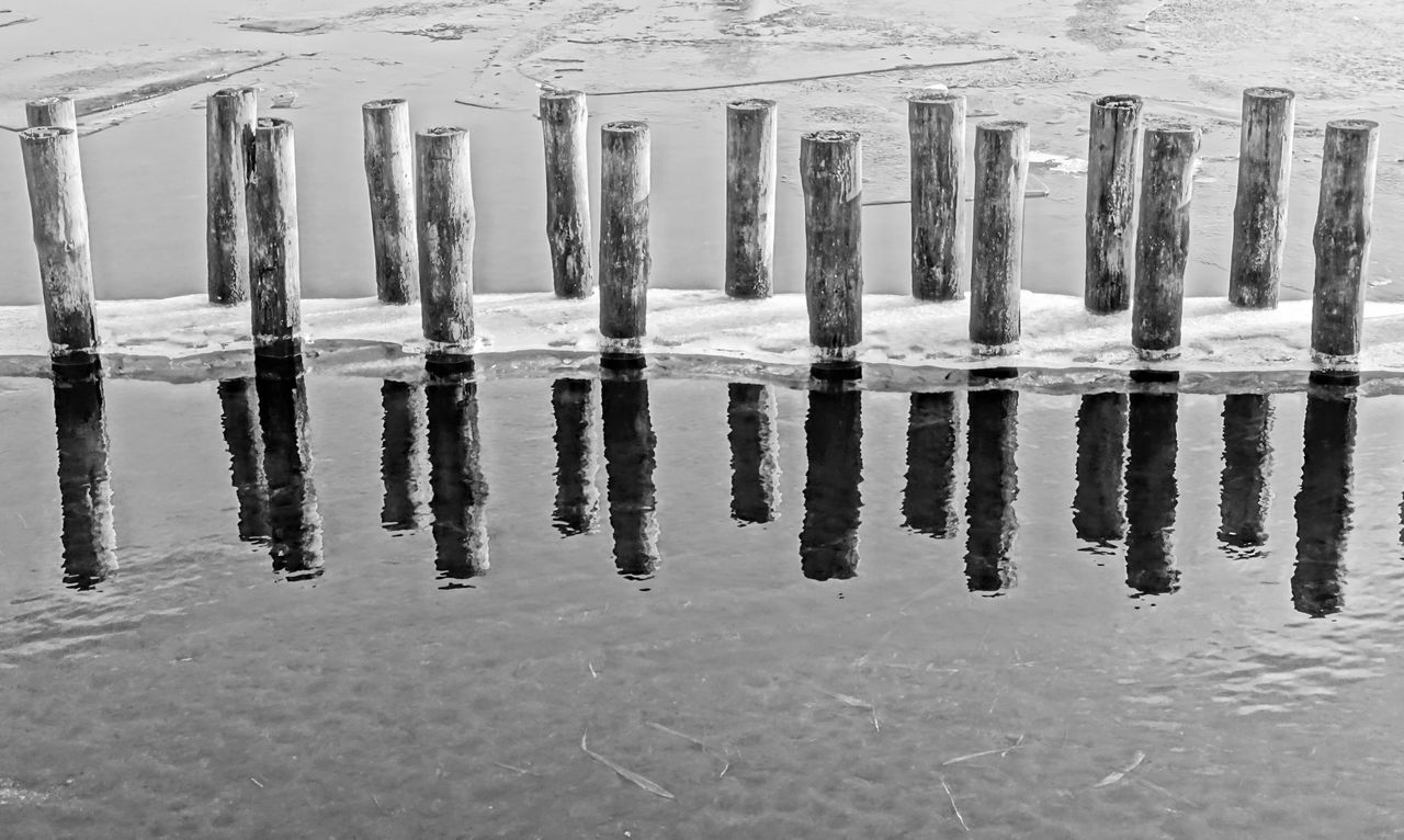 Architecture Berlin Photography Berliner Ansichten Black & White Black And White Cold Cold Temperature Cold Temperture Day Extreme Weather Frozen Ice Lake View Nature No People Outdoors Reflection Urban Exploration Water Winter Wood - Material