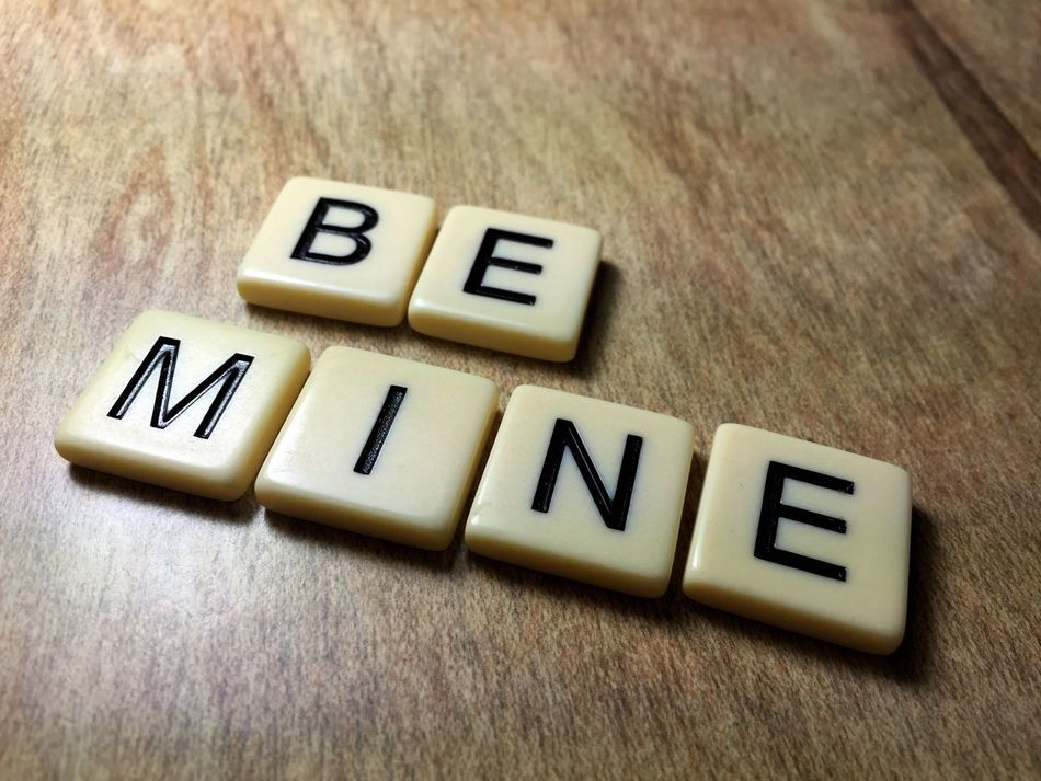 """Letters or tiles on a table that spell the words """"Be Mine"""" Be Mine Close-up Letters Love Meanings No People Sayings Scrabble Tiles Spell Table Text Tiles Valentine's Day  Valentines Wood Words Photo taken in California, USA"""