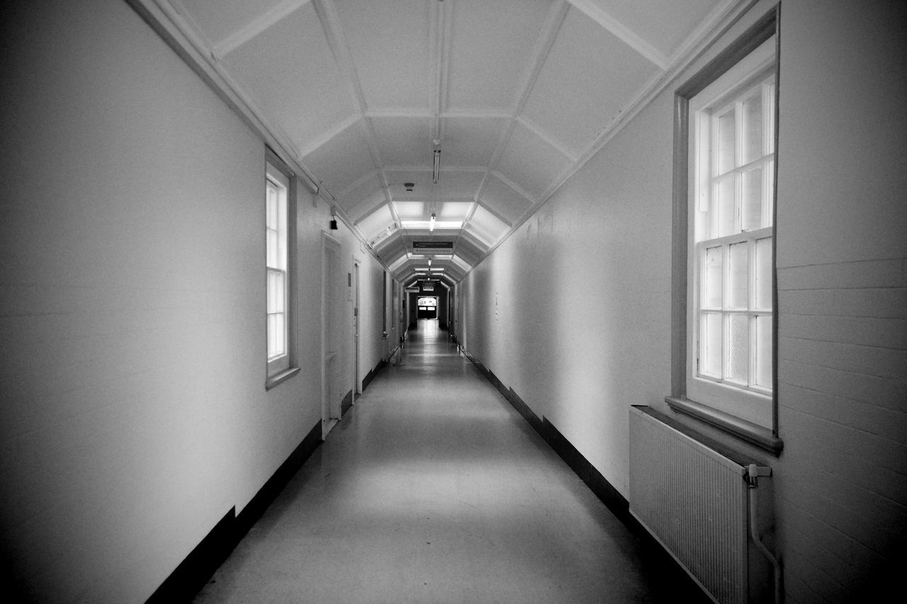 Hospital corridor Absence Architecture Building Corridor Diminishing Perspective Empty Exhibition Long Narrow No People Vanishing Point Walkway Whitchurch Hospital