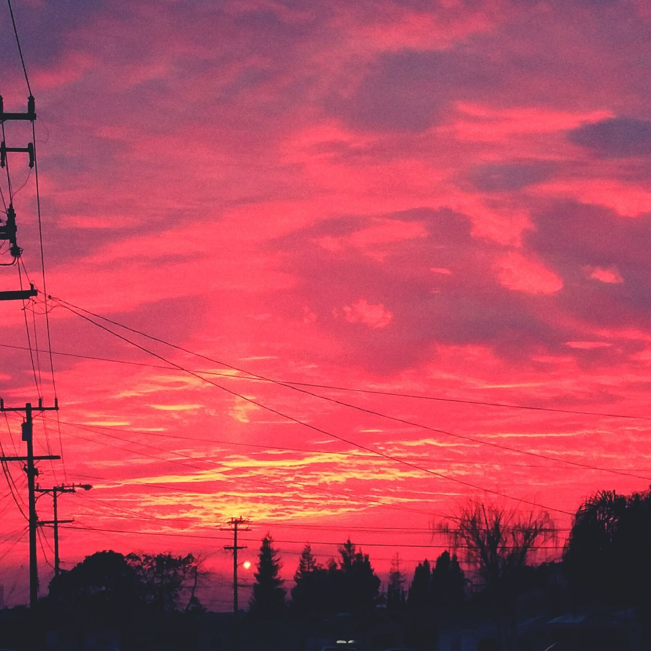 sunset, silhouette, sky, tree, cloud - sky, power line, power supply, orange color, electricity pylon, cable, electricity, no people, nature, beauty in nature, connection, low angle view, scenics, outdoors, fuel and power generation, tranquility, technology, telephone line, day