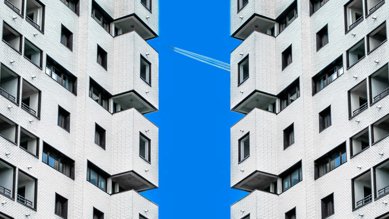 Apartment Architecture Backgrounds Blue Building Exterior Built Structure City Cityscape Day Low Angle View Modern No People Outdoors Residential Building Sky Window