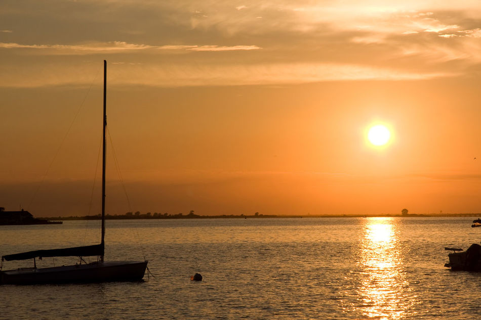 Atmosphere Atmospheric Mood Beauty In Nature Calm Cloud Dramatic Sky Fire Island NY Horizon Over Water Idyllic Majestic Nature Ocean Orange Color Reflection Rippled Scenics Sea Seascape Sky Sun Sunset Tranquil Scene Tranquility Water Waterfront