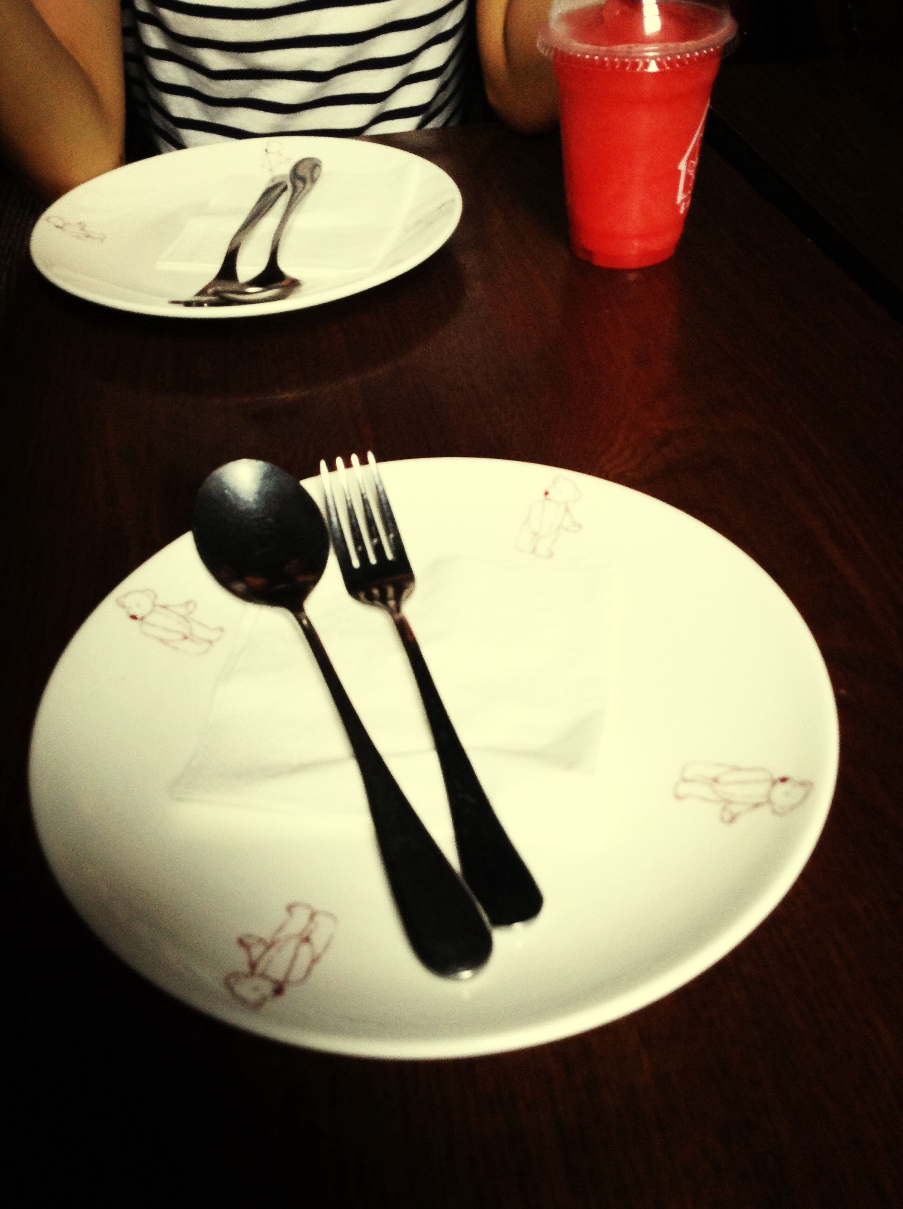 indoors, table, still life, food and drink, high angle view, spoon, drink, fork, plate, coffee cup, close-up, cup, refreshment, saucer, no people, table knife, coffee - drink, freshness, directly above, white color