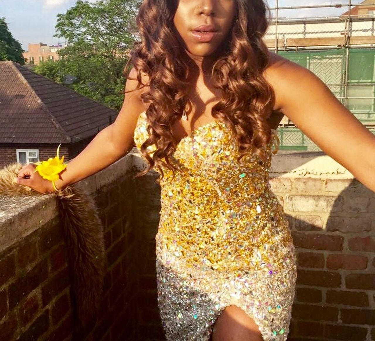 Urban mermaid MermaidLife Prom Dress Golden Sparkles ✨ Sequins Brown Curls Designer Dress Yellow Flower