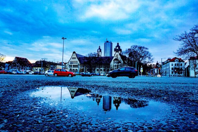 Here Belongs To Me Reflection Jena Thuringen Rain Cityscapes Clouds And Sky EyeEm Best Shots City Cloudporn Sony A6000 University Deutschland Architecture Streetphotography Cars Parking