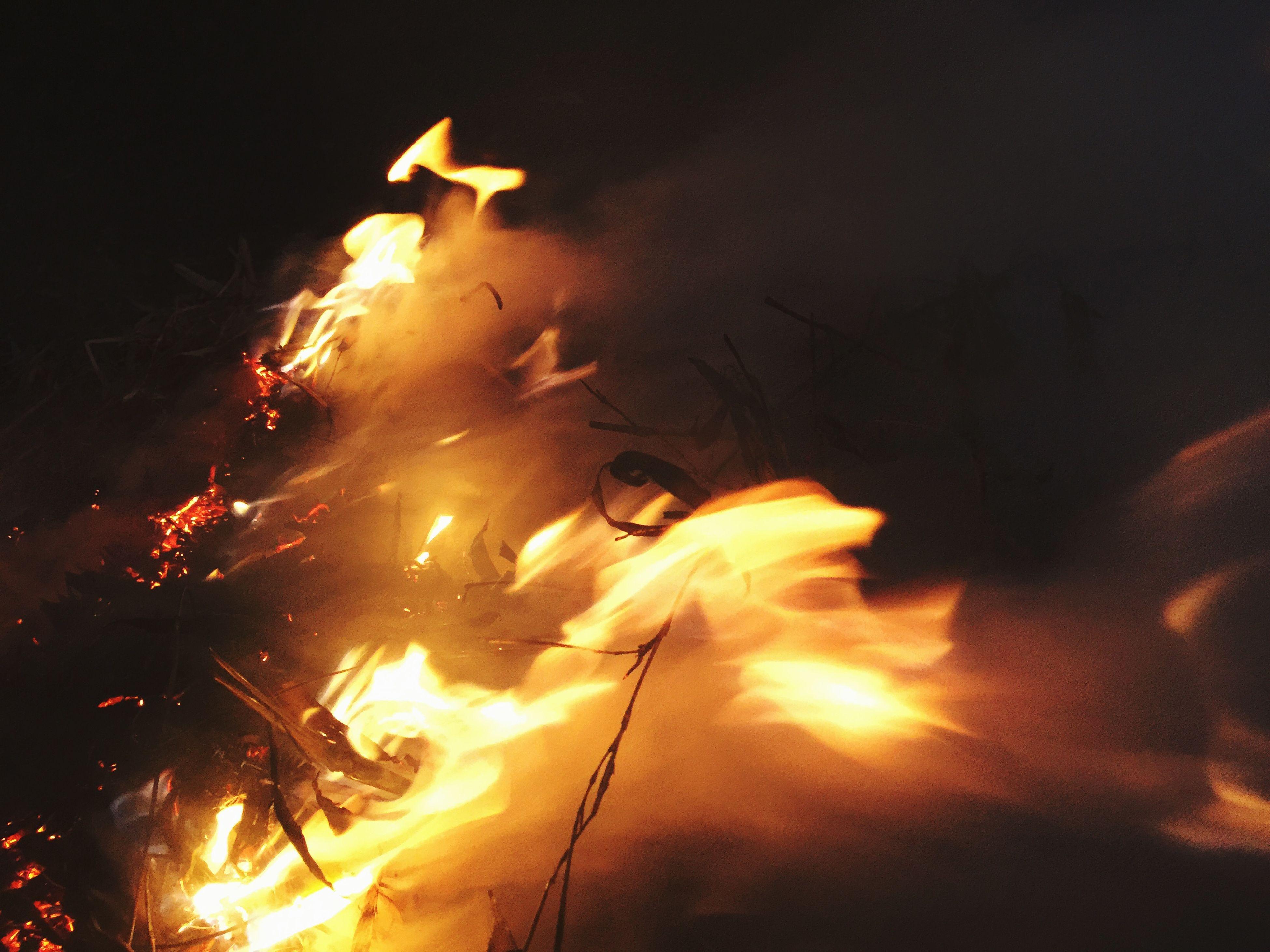 flame, burning, fire - natural phenomenon, night, illuminated, glowing, heat - temperature, fire, orange color, light - natural phenomenon, bonfire, dark, motion, long exposure, lit, no people, outdoors, heat, lighting equipment, firewood