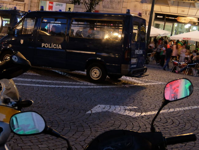 City Street Euro 2016 Green & Red Mirror Police Porto Portugal Reflex Town Hall People Together