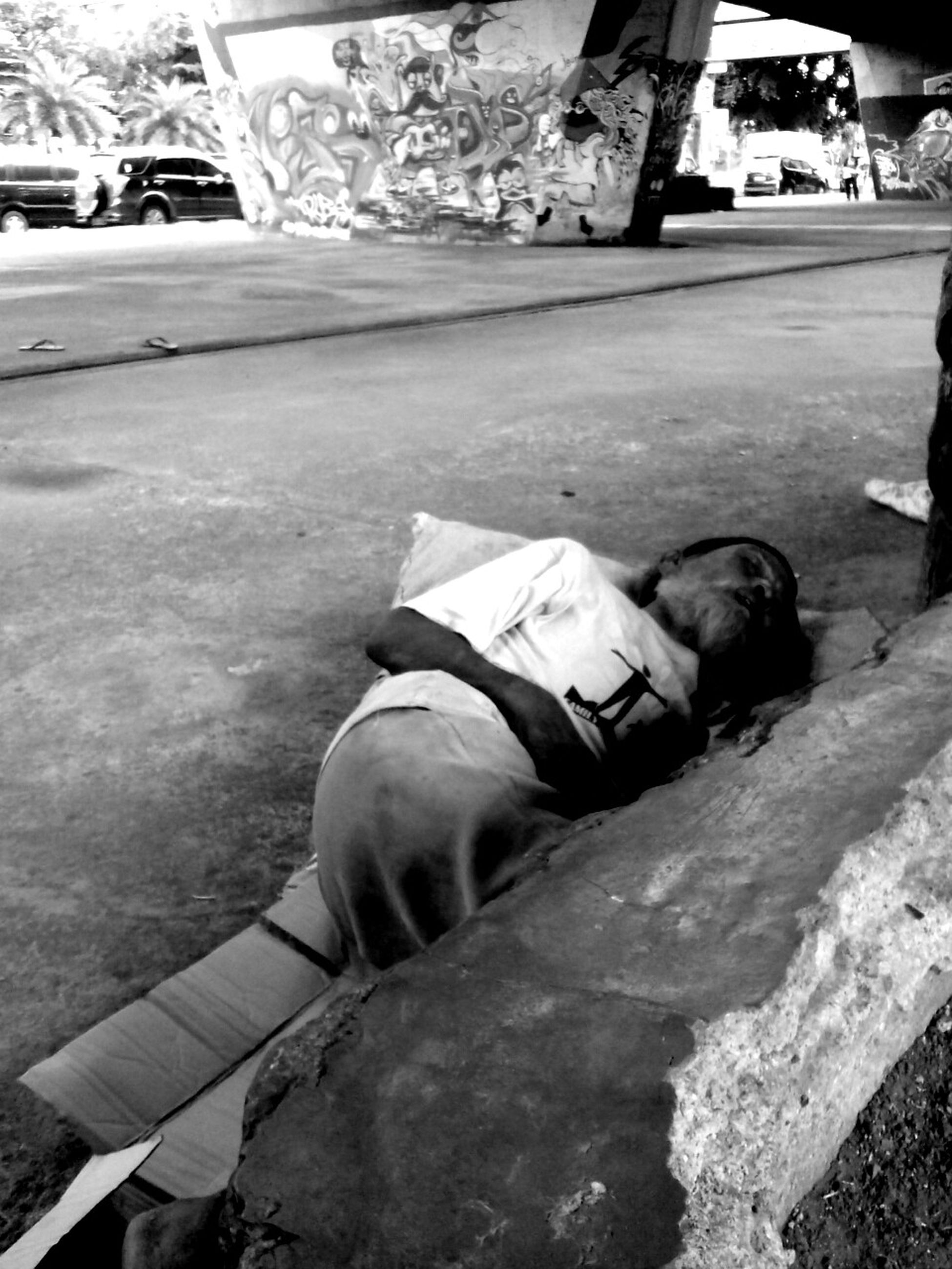 Take a nap Black And White Street Photography Street Art Jakarta Muralnesia