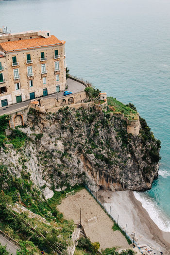 Atrani, Amalfi Coast, Italy Amalfi  Amalfi Coast Architecture Atrani Beach Building Exterior Built Structure Cliff Coastline Day High Angle View Horizon Over Water House Italy Nature No People Outdoors Rock Rock - Object Rock Formation Sea Shore Sky Water