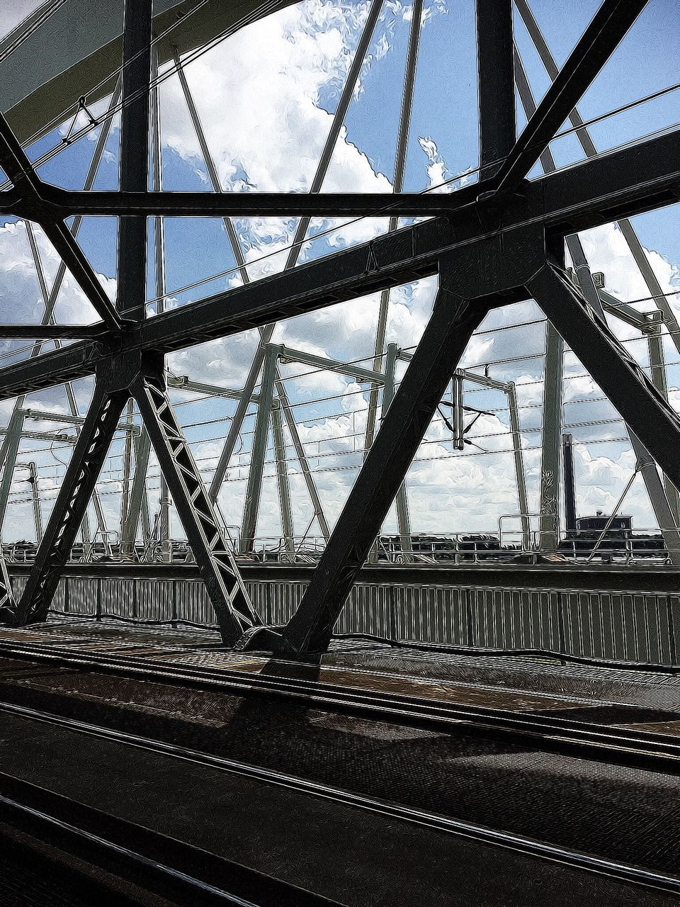 bridge - man made structure, sky, transportation, connection, built structure, day, architecture, cloud - sky, outdoors, no people, low angle view, girder, city