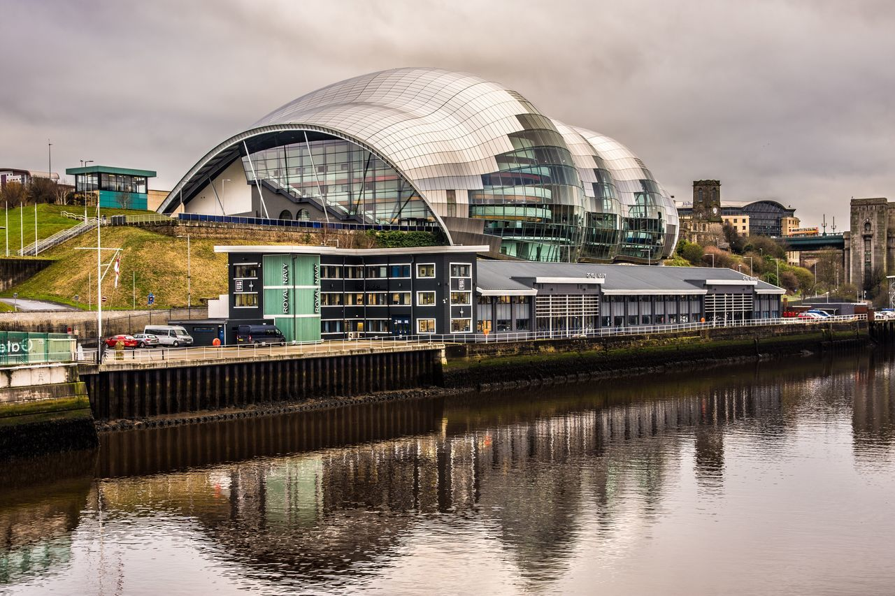 Thesagegateshead Building Exterior Architecture Water Reflection Sky City Cloud - Sky Built Structure River No People Outdoors Day Riverside Check This Out TheWeekOnEyeEM Nikonphotography Nikon Reflection_collection