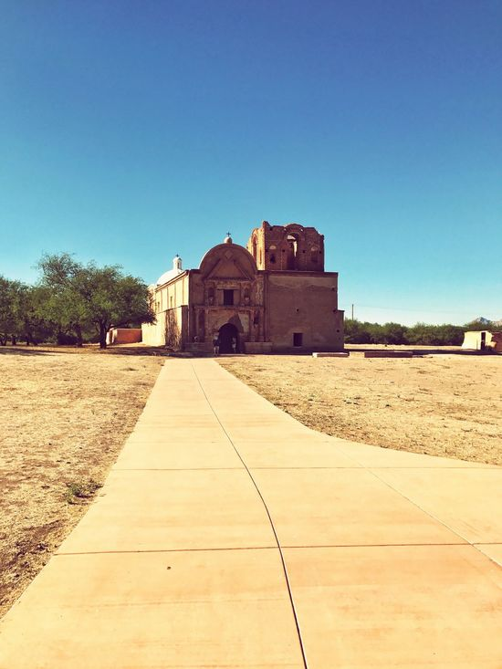 Tumacacori Architecture Built Structure Building Exterior Clear Sky House Day Copy Space Sunlight Outdoors Blue No People Sky Mission Church Old Church Old Mission Arizona Tubac Tumacacori Catholic Catholicism Old Buildings Catholic Arcitecture Historical Building Historic