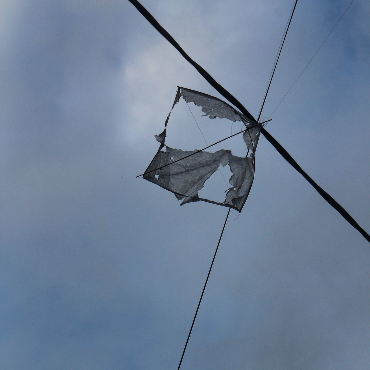 Low Angle View Of Damaged Kite Against Sky