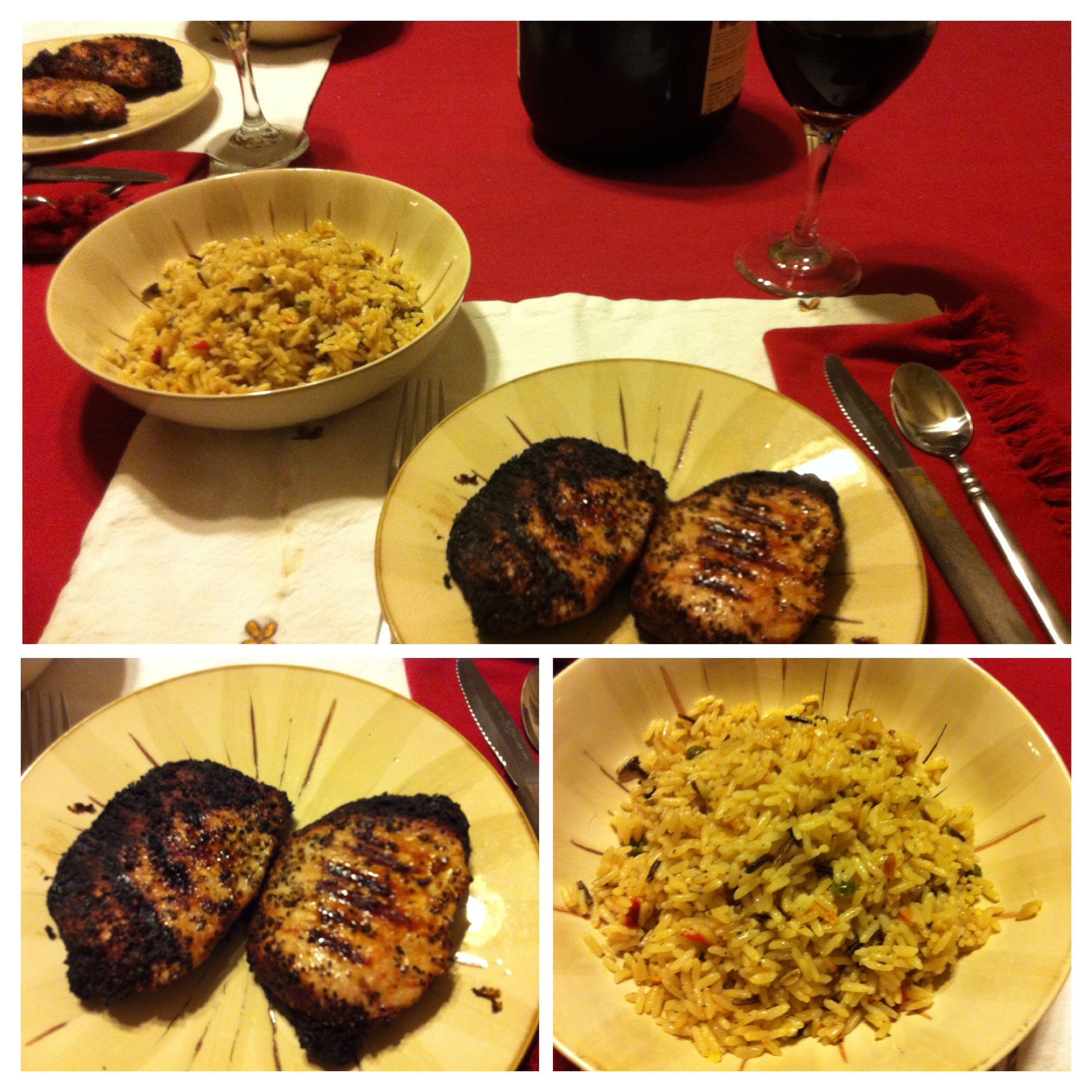 Grilled boneless pork chops last night. Served them with spanish rice and my homemade 2012 Californian Burgundy wine. ICanCookMyAssOff Nomnombomb TheExpensiveWinos MyFoodPics