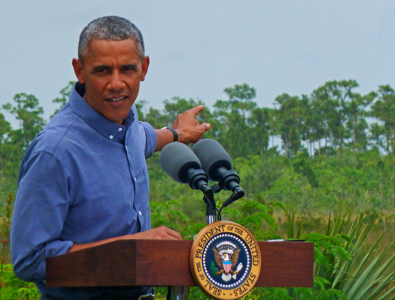 President Barack Obama speaks in Everglades National Park Adult Agriculture Button Down Shirt Day Everglades  Everglades National Park Florida Everglades Happiness Obama One Man Only One Person Outdoors People Podium Politics Politics And Government Portrait President Real People Smiling Tree Waist Up