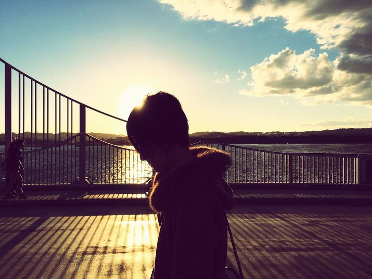 Sky Real People Rear View One Person Sunset Outdoors Silhouette Water Architecture Bridge Walking Japan Rumi