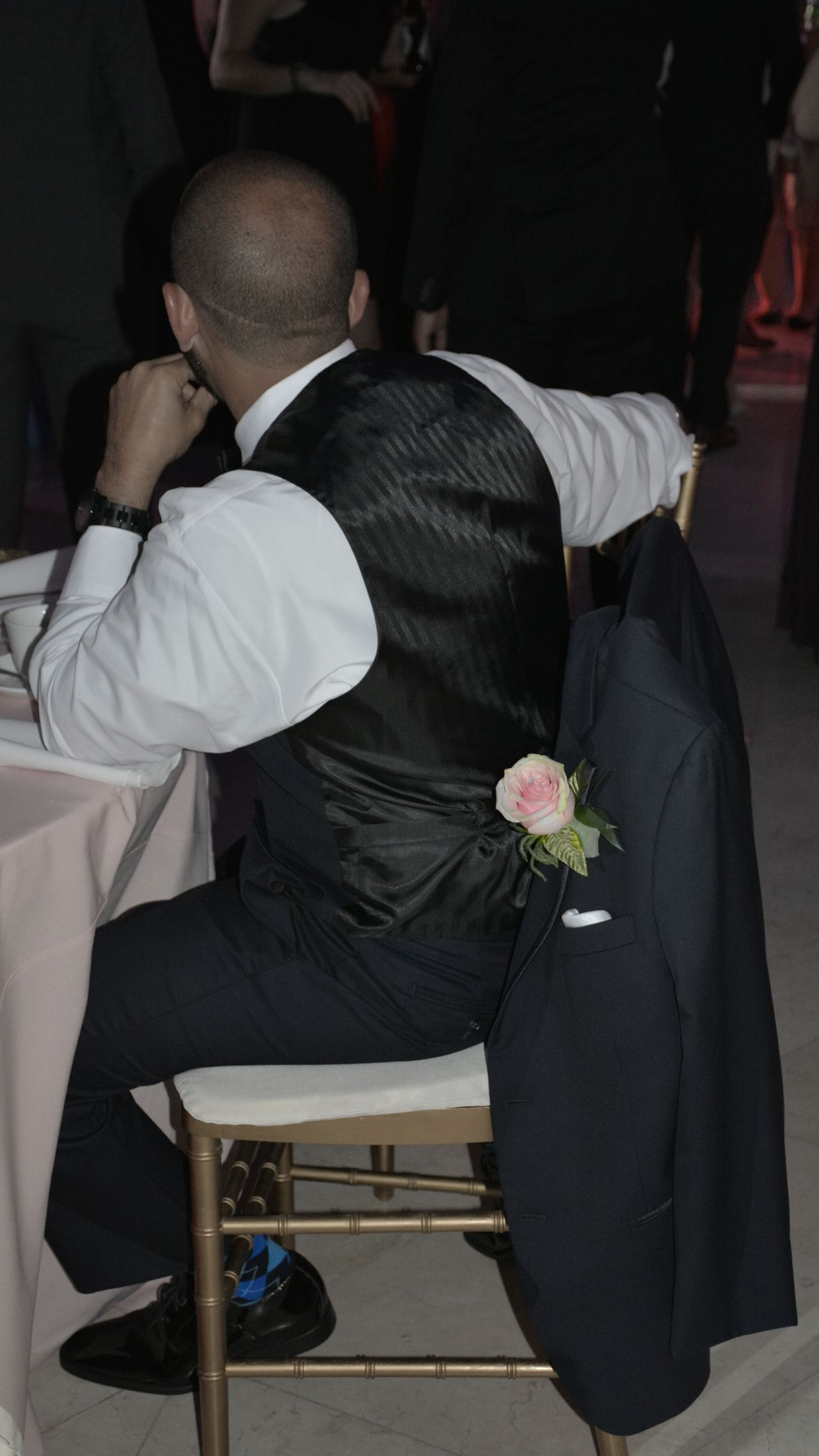 Groomsman Adult One Person Boutonniere People Groomsmen Formal Wear Formal Attire One Man Only Wedding Male Groomsman Adult Ceremony Wedding Detail Boutonniere Flower Indoors  Lifestyles Men Best Man Bestman Wedding Reception Wedding Flower Wedding Flowers Pink Rose Pink Color
