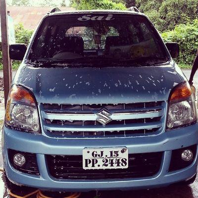 Maruti Suzuki Wagon  -R Sky Blue Washing car Of soap foam Natural Click TimePass TP ...