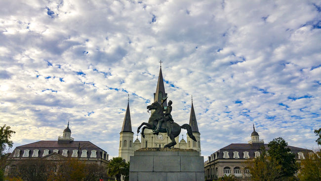 Jackson Square, New Orleans, United States Architecture Blue Building Exterior Built Structure Church Cloud Cloud - Sky Cloudy Day Dome High Section Jackson Square Louisiana Low Angle View Nature New Orleans No People Outdoors Place Of Worship Sky Spirituality Travel Destinations United States Weather