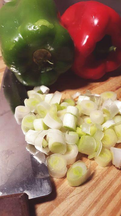 Verduras Food Cocinando Cebolla De Verdeo Verde Green Red Rojo Morrón Morrones