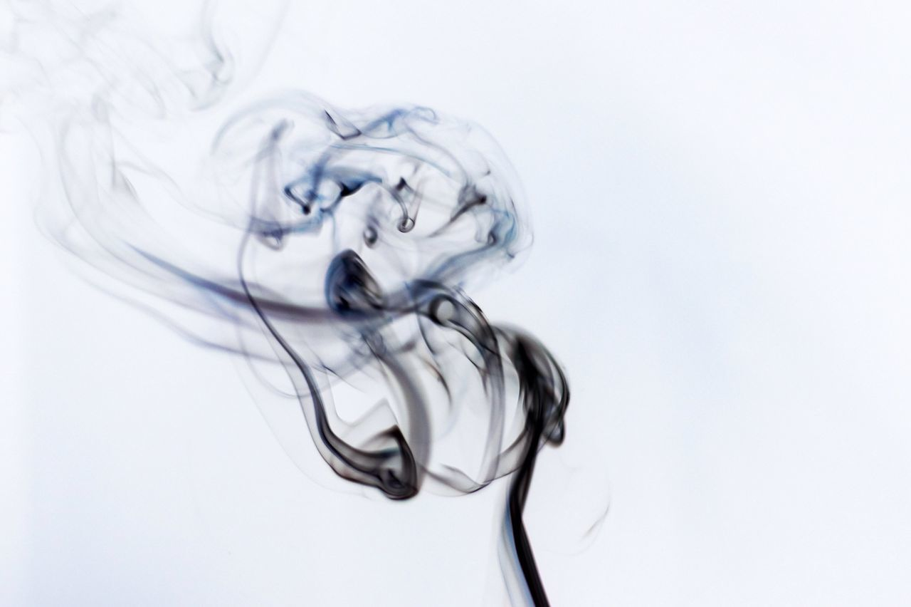 studio shot, white background, abstract, close-up, smoke - physical structure, swirl, no people, motion, water, indoors, dissolving, day