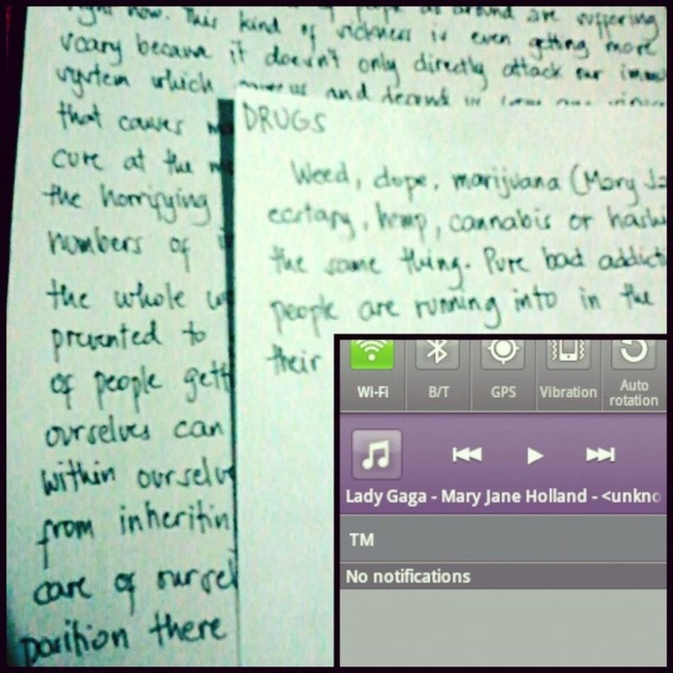 Writing a commentary about Drugs Hiv and Aids while listening to a song with the same topic. Maryjaneholland by LadyGaga [wise things, isn't it?] littlemonster addiction dope college society problems solution music pop reaction ARTPOP followteam follow follow4follow followback like4like liketeam TFL