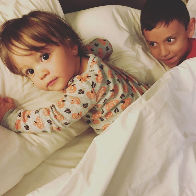 Simple moments Real People Baby Innocence Togetherness Looking At Camera Boys Girls Bedtime Morning Childhood Sibling Love White Color Cuddle