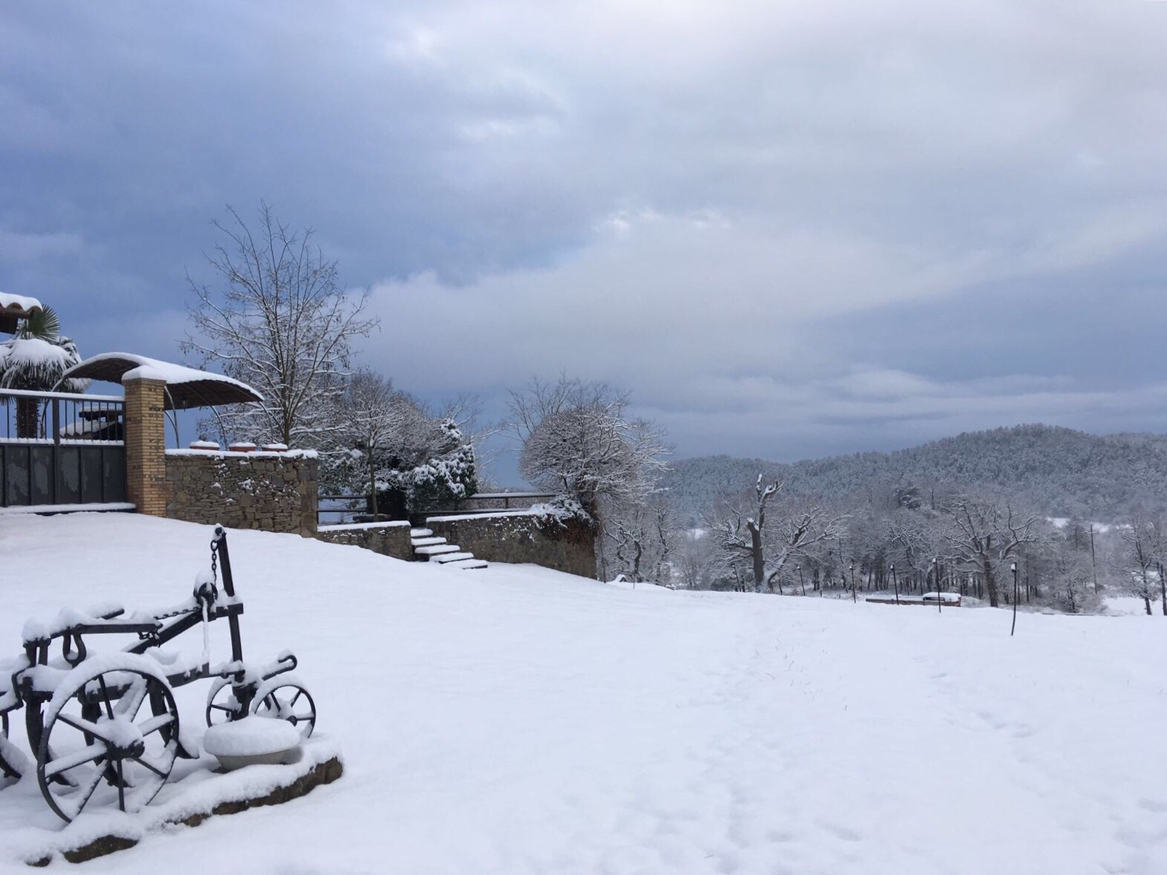 bicycle, transportation, tree, sky, cold temperature, mode of transport, land vehicle, outdoors, snow, stationary, cloud - sky, built structure, day, nature, no people, architecture, winter