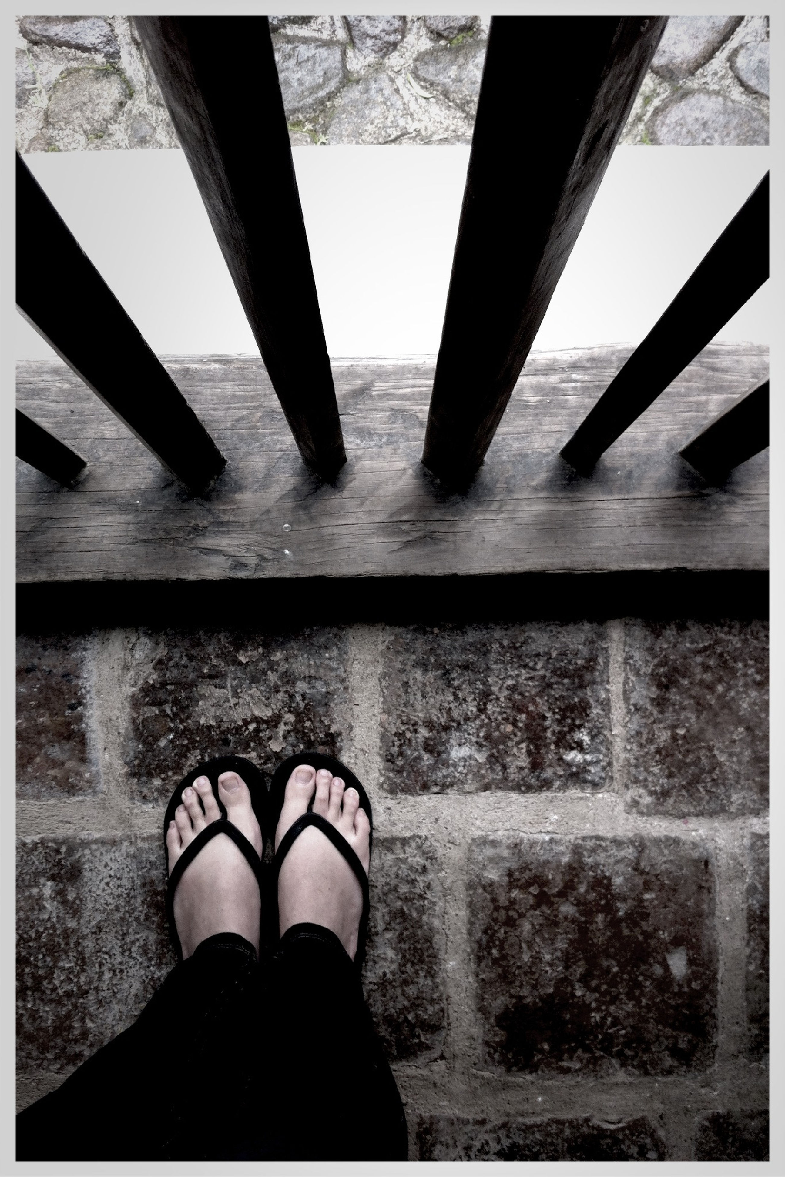 transfer print, low section, person, auto post production filter, personal perspective, built structure, indoors, architecture, lifestyles, human foot, standing, shoe, part of, day, low angle view, sunlight, leisure activity