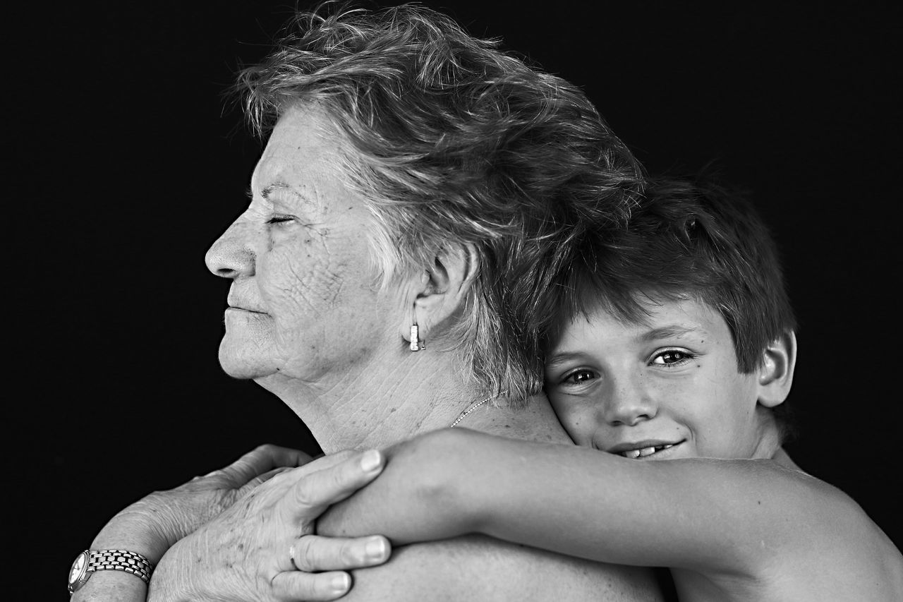 Beautiful stock photos of granny,  40-44 Years,  8-9 Years,  Adult,  Black And White