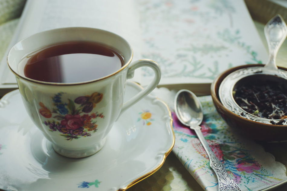 Tea time Book Close-up Day Drink Food And Drink Freshness Healthy Eating Hot Drink Indoors  No People Plate Read Refreshment Saucer Table Tablecloth Tea Tea - Hot Drink Tea Time