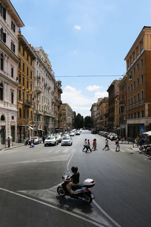 Blue Sky Busy Street Fun Holiday Italy Motorcycle Romantic City Rome Street Photography Tourist Attraction  Vacation White Clouds