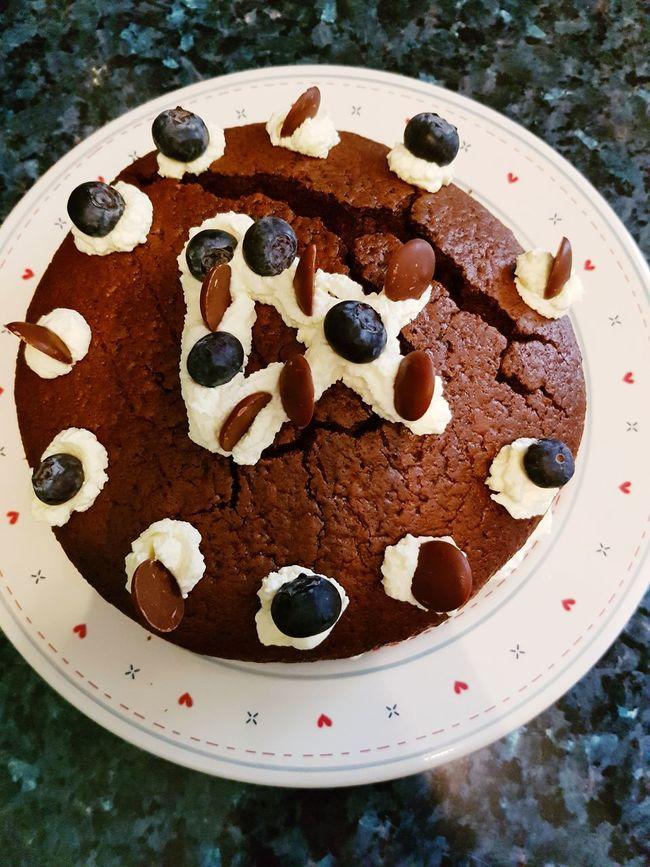 Birthday Cake 4th Birthday Chocolate Cake I Made  Neices Birthday Blueberries Chocolate Buttons Cream