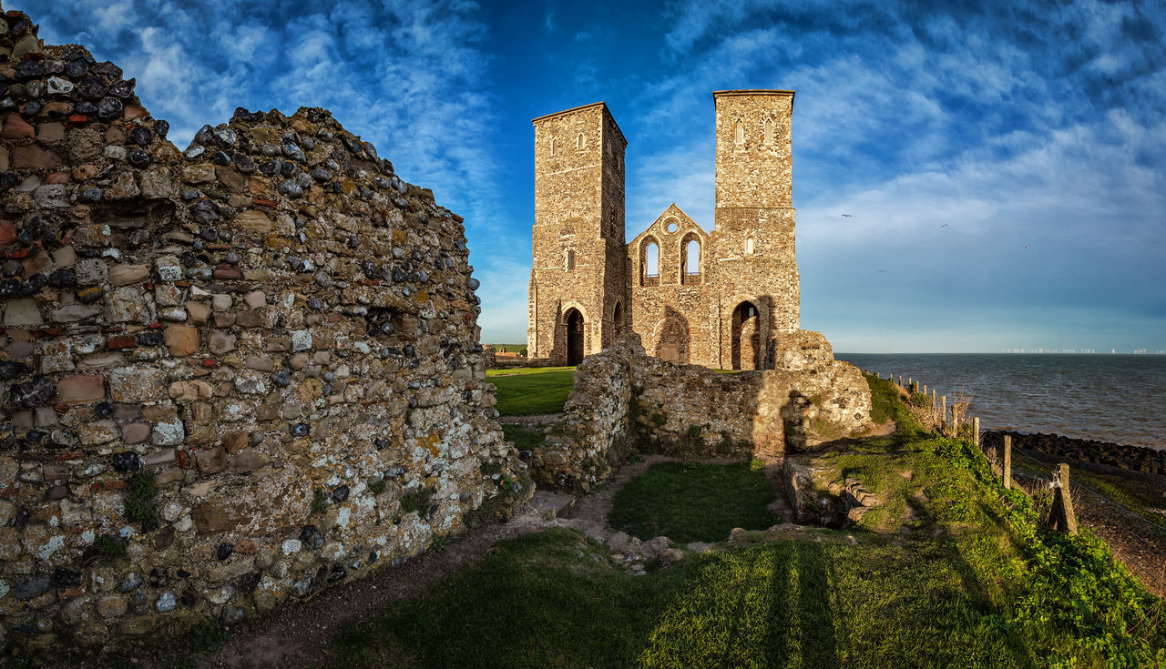 Panoramic of Reculver Towers Kent UK Church Kent Kent England Panorama Panoramic Reculver Reculver Kent. England Reculver Towers Ruins Sea And Sky Sea View Your Ticket To Europe
