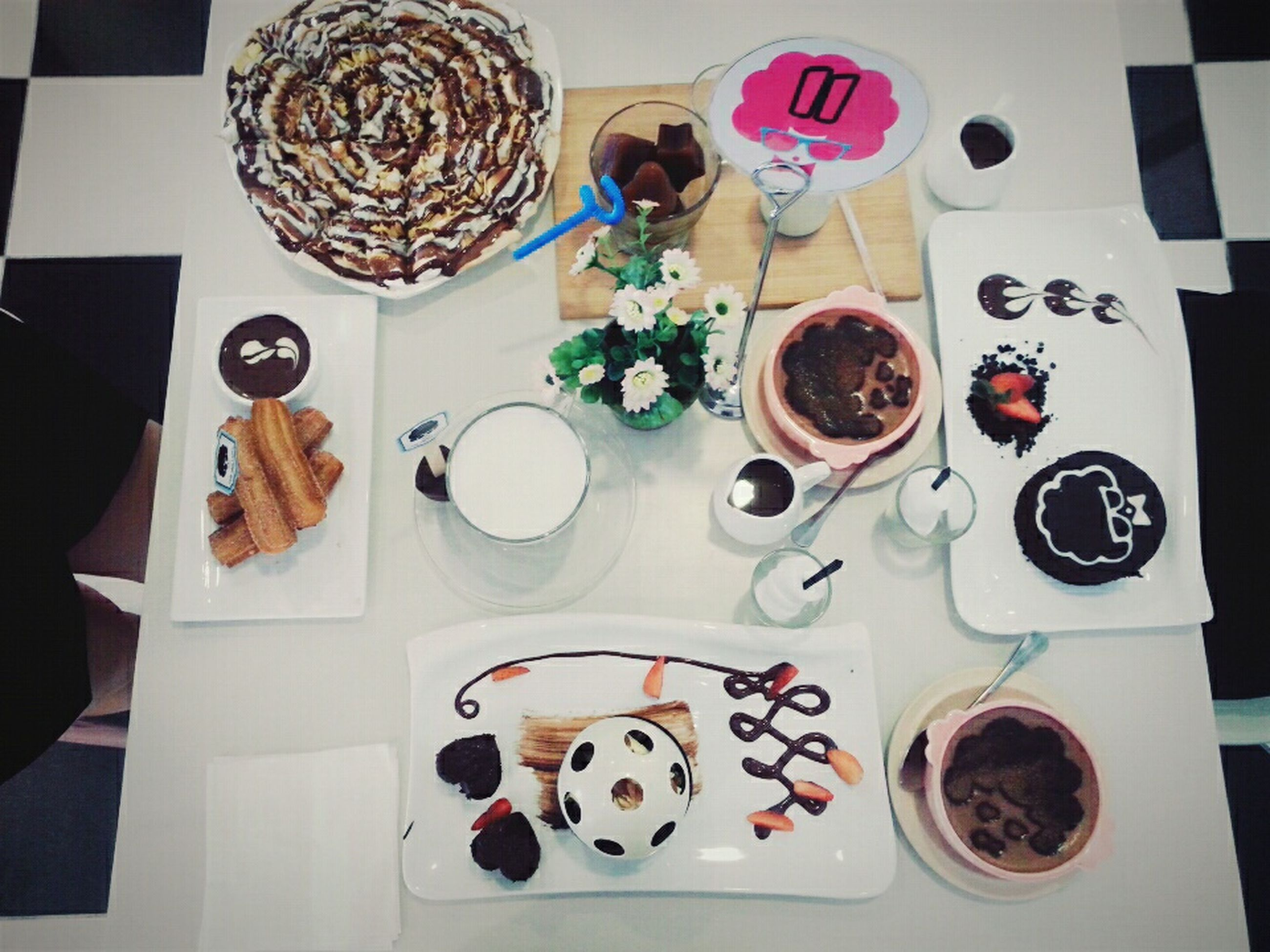 food and drink, indoors, freshness, drink, food, table, coffee cup, plate, refreshment, still life, coffee - drink, ready-to-eat, breakfast, saucer, healthy eating, high angle view, spoon, coffee, cup, serving size