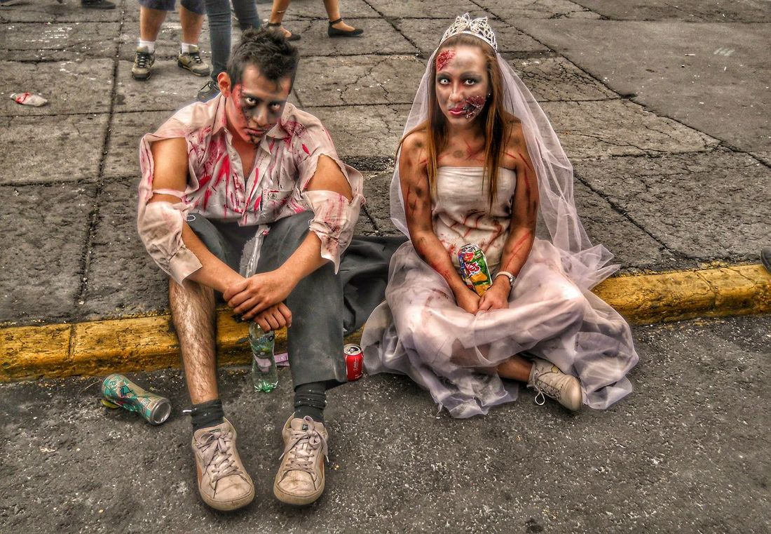 Young Adult Two People Sitting Outdoors People Lifestyles People Photography Street Photography Photography I❤Photographya Day City Zombie Apocalypse Zombiewalk  ZombieArt