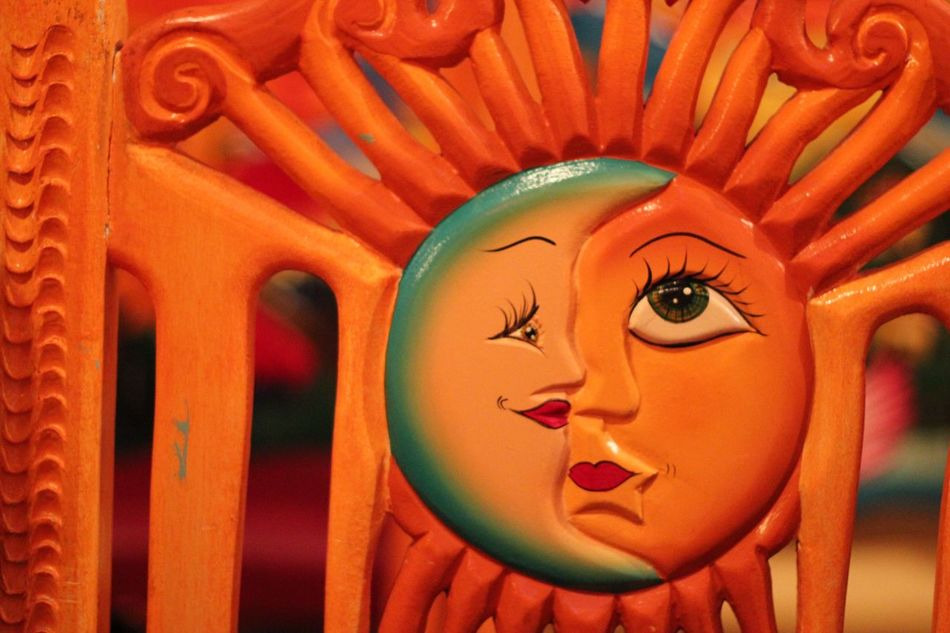Art And Craft Creativity Human Representation Craft Orange Color No People Anthropomorphic Face Close-up Day Indoors  Sculpture Multi Colored Art Is Everywhere