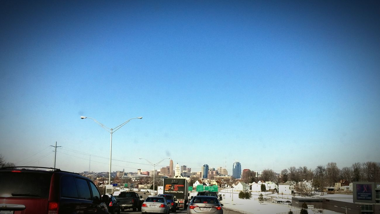 Stuck in traffic forever...finally the cincy skyline Traffic Jam Downtown Cincinnati Roadtrip