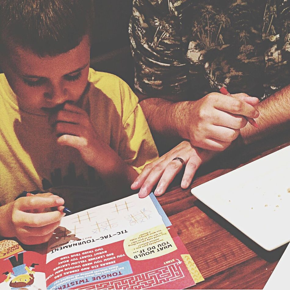 Noughts & Crosses with Uncle Craig..... Nephew  Uncle Boyfriend Adult Child Playing Games Games Tick Tack Toe Noughts And Crosses Connecticut USA Out To Eat Restaurant EyeEm Kids Of EyeEm People Of EyeEm EyeEm Gallery