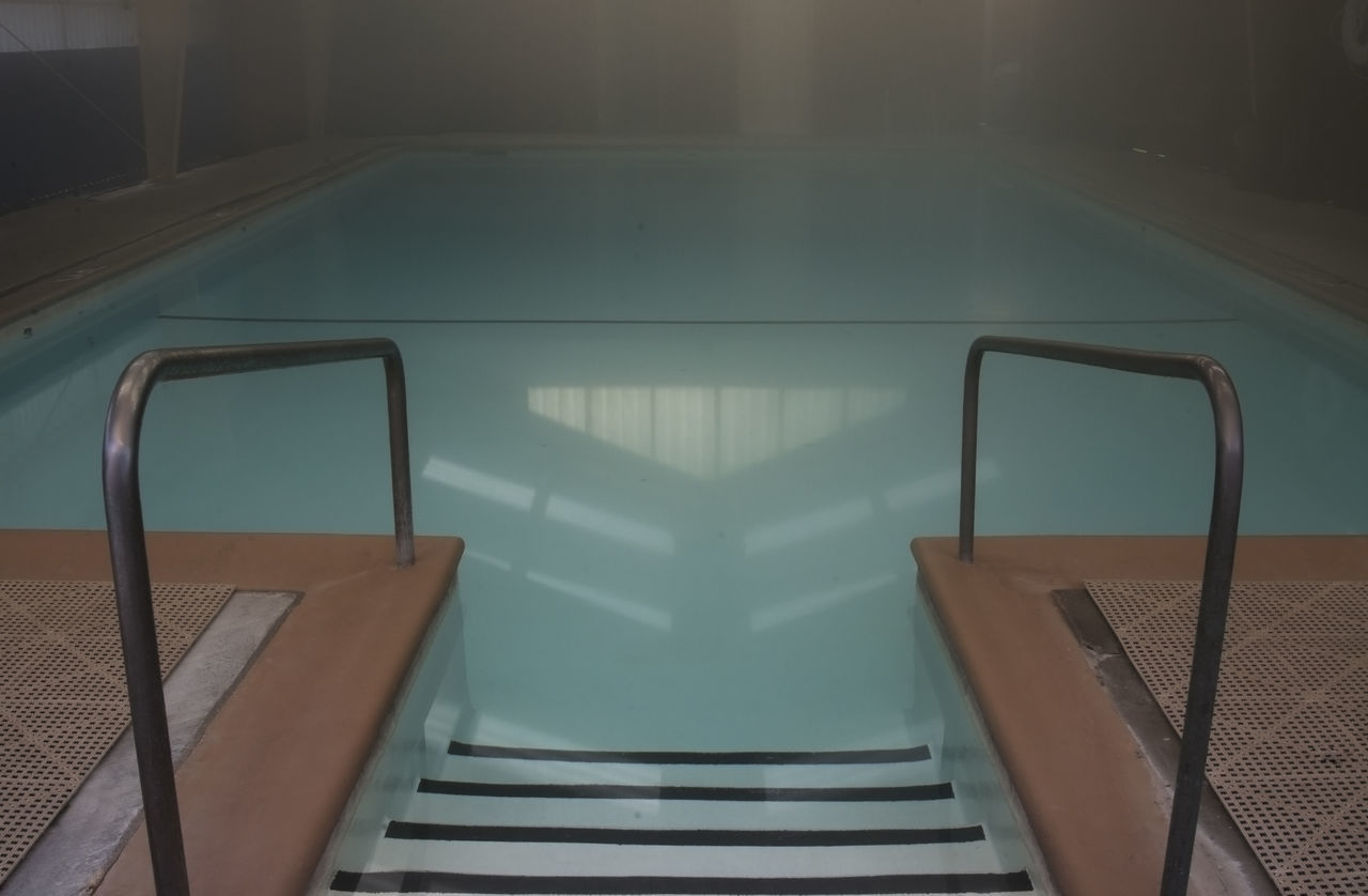 Absence Architecture Diminishing Perspective Empty Geometric Shape Indoor Pool Mooddiversion No People Pool Pool Steps Solitary Steam Steel The Way Forward