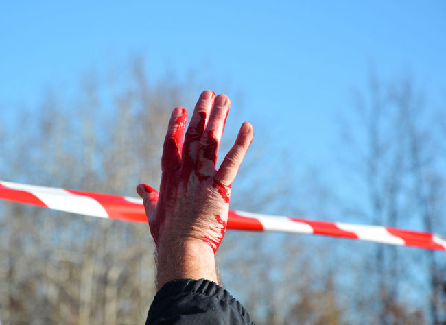 Bloody Hand Close-up Danger Sign Danger Zone Day Human Finger Nature Outdoors Protest Red Sky