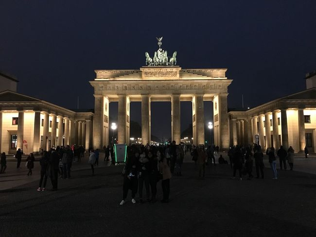 City Gate Architecture City Illuminated Night Built Structure Large Group Of People Travel Destinations Sky Outdoors Statue People Sculpture Adult Brandenburg Gate