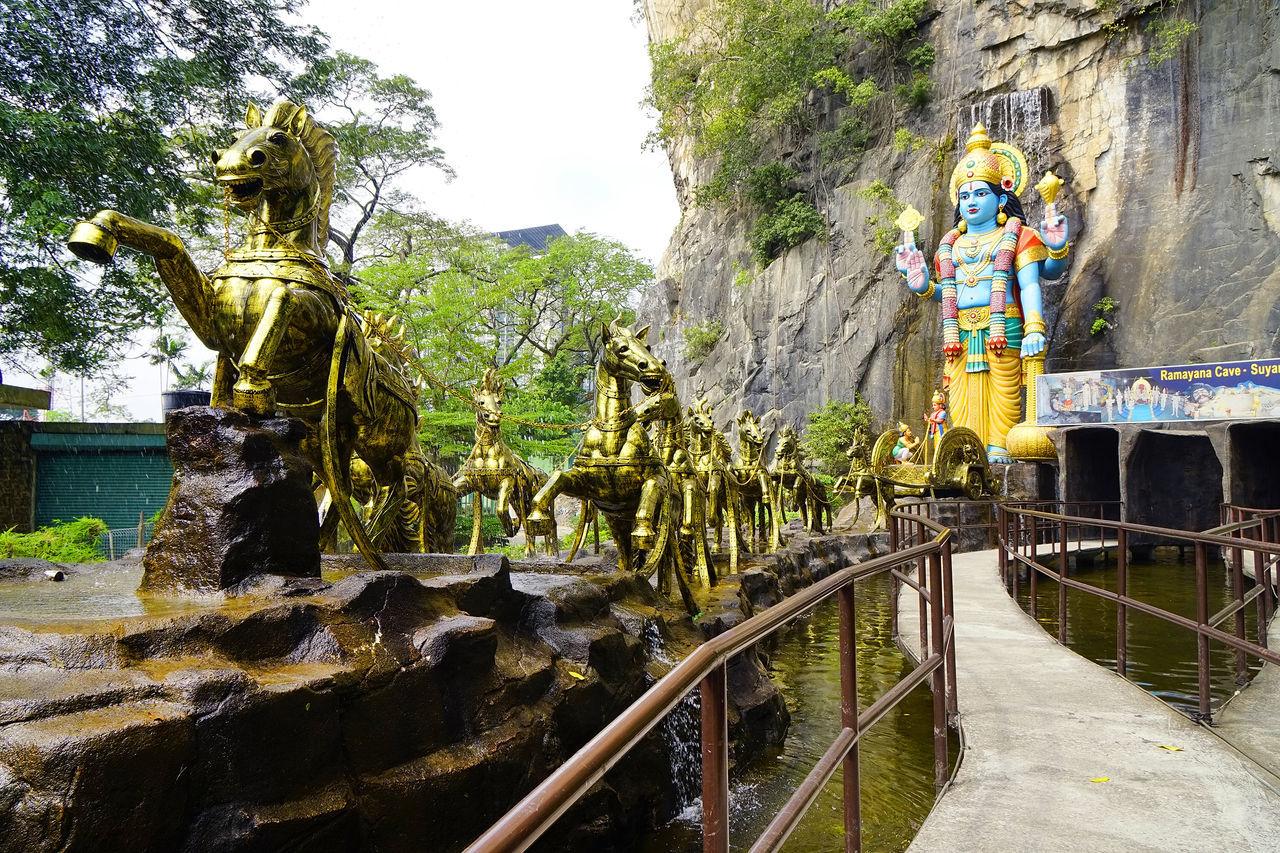 Asia, Kuala Lumpur ASIA Batu Caves Deity God Hindu Hinduism Kuala Lumpur Malaysia Ramayana Religion Religious  Sculpture Statue Temple