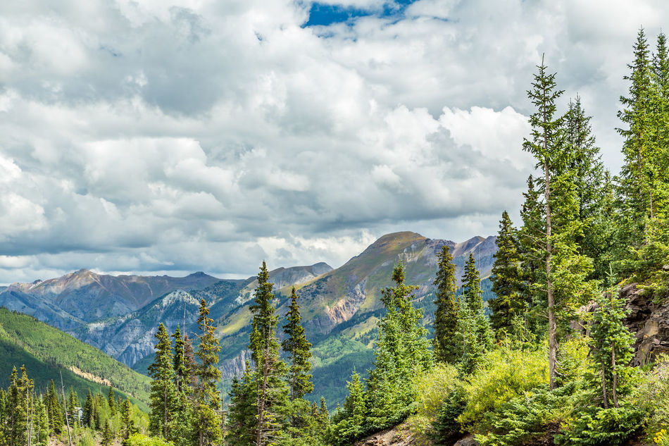 The San Juan Skyway forms a 233 mile loop in southwest Colorado traversing the heart of the San Juan Mountains festuring breathtaking mountain views and includes the portion of US 550 between Silverton and Ouray known as the Million Dollar Highway. Beauty In Nature Cloud - Sky Colorado Day Forest Green Color Landscape Million Dollar Highway Mountain Mountain Peak Mountain Range Nature No People Outdoors Pine Woodland Rockies Rocky Mountains San Juan Mountains San Juan Skyway Scenics Sky Travel Travel Destinations Tree Urban Skyline