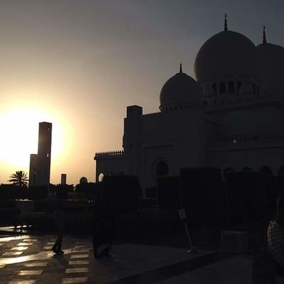 Grand Mosque Abu Dhabi Architecture Building Exterior Built Structure City Culture Day Dome Islamic Architecture Mosque No People Outdoors Religion Silhouette Sky Sunset Tourism Travel Destinations