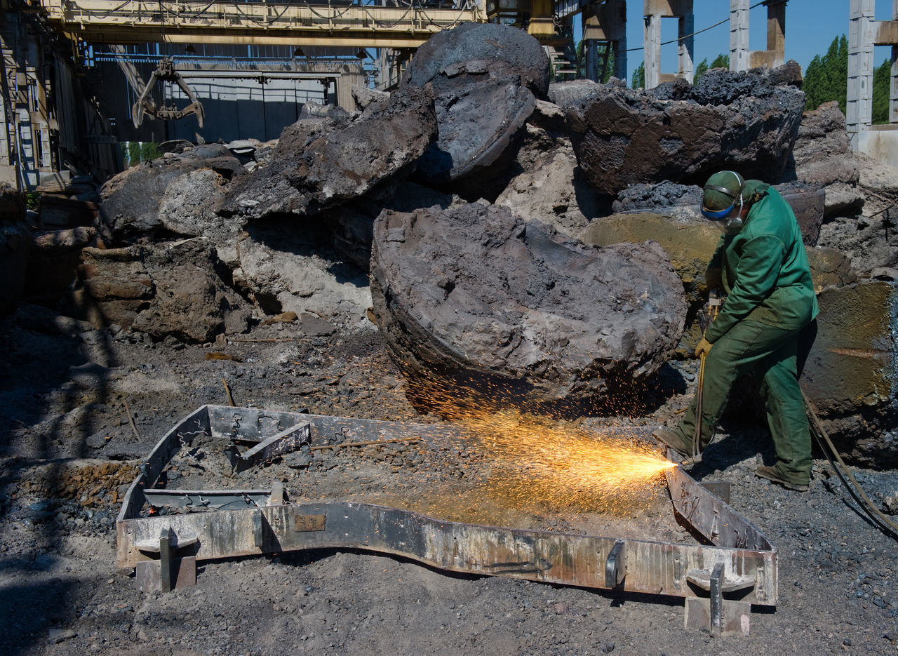 Russia, Lipetsk, processing of secondary metal, steel mill, engraver metal Day Dirty Engraver Metal Garbage Heap Lipetsk Outdoors Processing Of Secondary Metal Russia