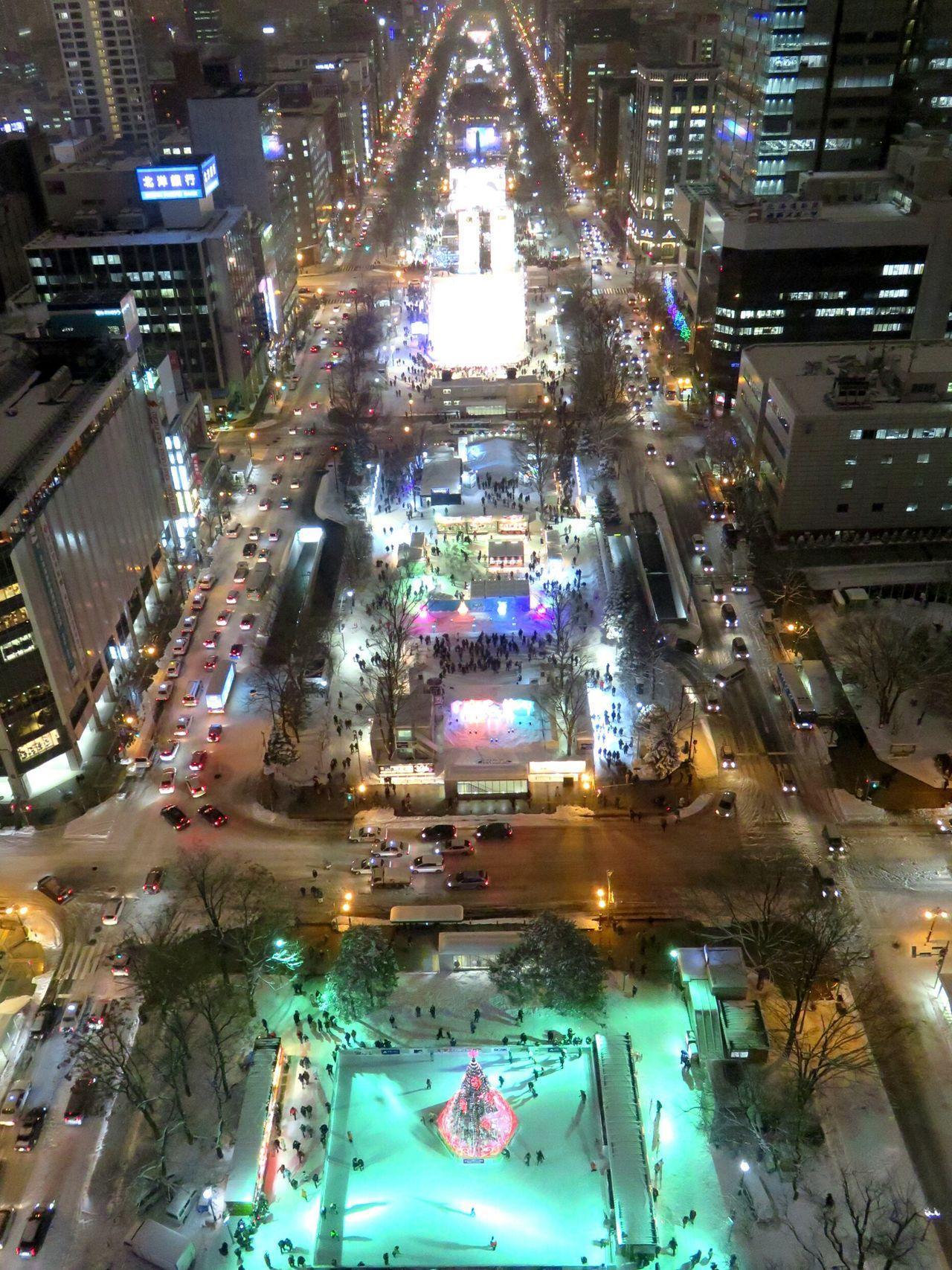 Illuminated Night High Angle View Streetphotography Street Light Street Cityscape City 日本 北海道 Hokkaido Japan City Snow ❄ Snow Snowfestival Yukimatsuri Sapporo Sapporo Snow Festival さっぽろ雪まつり
