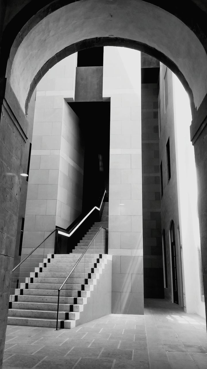staircase, steps and staircases, steps, architecture, built structure, railing, stairs, indoors, no people, the way forward, hand rail, day