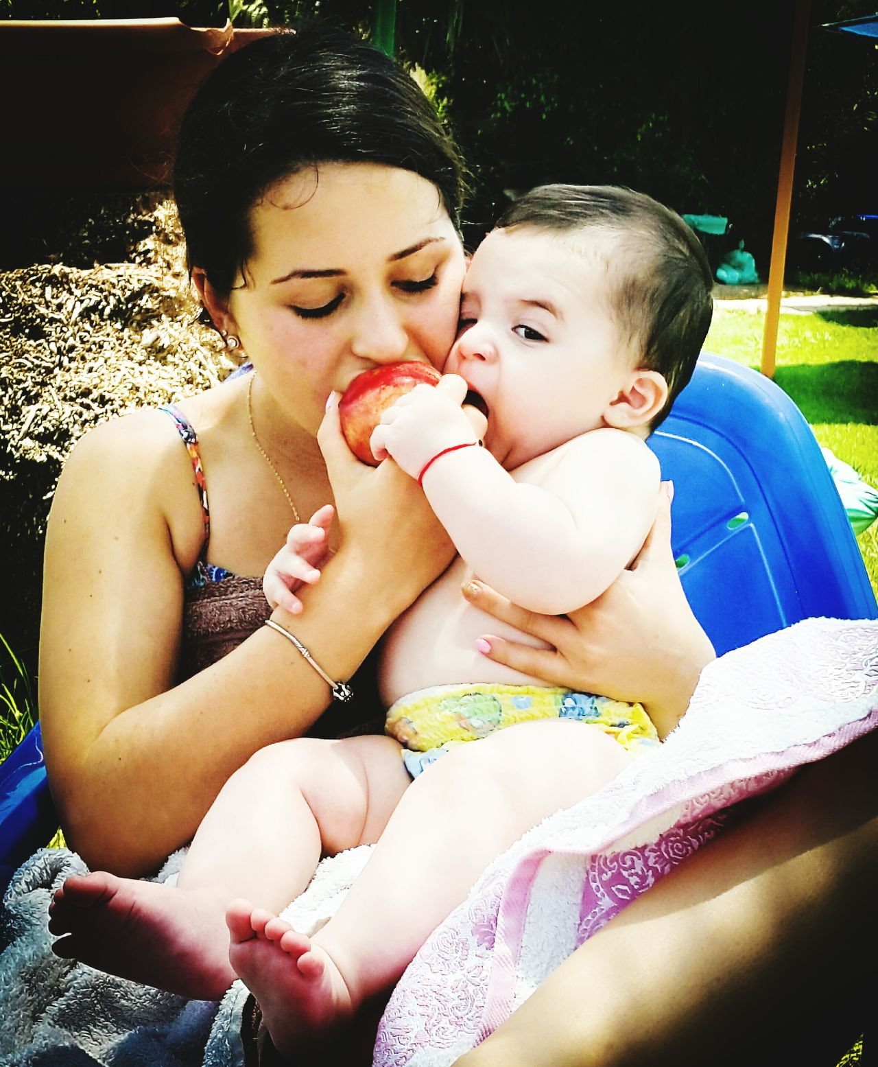 Togetherness Childhood Vacations Family Affectionate People And Places Close-up Cute Baby Toddler  Eating!  Eating Fruits